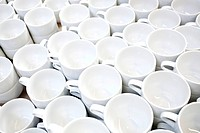 Coffee mugs from Rosenthal in the production of tableware at the porcelain manufacturer Rosenthal GmbH, Speichersdorf, Bavaria, Germany, Europe