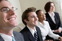 View of business people smiling