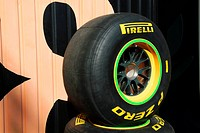 Pirelli Formula 1 racing tires stacked up in the paddock at the Circuit Ricardo Tormo in Valencia, Spain, Europe