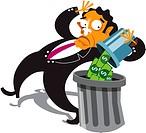 A businessman throwing money away