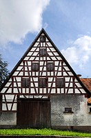 Old Franconian half-timbered house on a farm, Sendelbach, Middle Franconia, Bavaria, Germany, Europe
