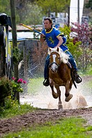 Horse riding, skill competition, Ueberetscher Ritt tournament, Eppan, South Tyrol, Italy, Europe