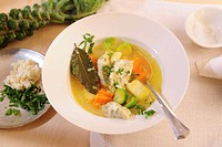 Vegetable stew with Brussels sprouts and dumplings