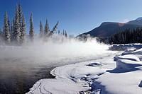 Canada, Alberta, Banff, Bow River. Winter Landscape In Canadian Rockies.