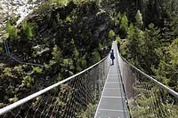Suspension bridge across the Riesachfall waterfall, Alpinsteig Hoell hiking trail, Naturpark Soelktaeler nature park, Schladminger Tauern mountain ran...