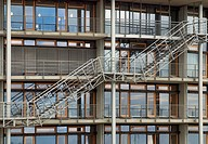 Staircase, facade of the library of the Institute for World Economics, Kiel, Schleswig-Holstein, Germany, Europe