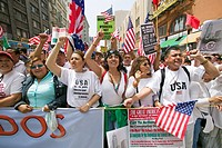 Hundreds of thousands of immigrants participate in march for Immigrants and Mexicans protesting against Illegal Immigration reform by U.S. Congress, L...