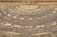 Moonstone in front of the steps decorated with reliefs at the Mahasena Palace, Pancavasa, Anuradhapura, UNESCO World Heritage Site, Sri Lanka, Ceylon,...