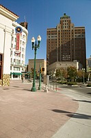 Downtown El Paso Texas in the historic Plaza district, looking towards the Plaza Motor Hotel