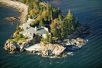 Aerial views of luxury home in Acadia National Park, Maine in autumn