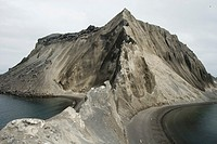Poluostov Vladimira, a cinder cone on the flank of Alaid Volcano, Atlasova Island, Kuril Islands, Russian Far East