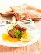 Beef with citrus fruit,pineapple and hard_boiled egg
