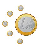 One euro coins on the white background VECTOR
