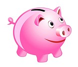Piggy bank isolated on white for design