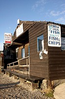 Fish and chip shop at Southwold harbour, Suffolk