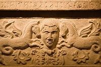 europe, italy, tuscany, siena, santa maria della scala, exhibition of etruscan art, collection of pietro bonci casuccini, travertine cinerary urn