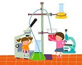 Girls Doing Experiment