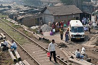 Ambulance in front of a clinic of the aid organisation Doctors for the Third World, Shibpur district, Howrah or Haora, Kolkata or Calcutta, West Benga...