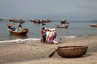Harbor with fishing boats and coracles, Mui Ne, Binh Thuan, Vietnam
