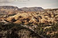 Moonscape environmental damage through mining, copper, Queenstown, Tasmania, Australia