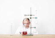 Scientist observing beaker on workbench