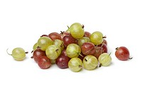 Heap of red and green Gooseberries on white background
