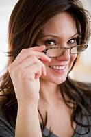 Portrait of woman wearing glasses