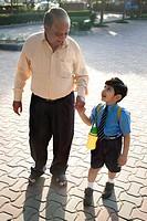 School boy holding his grandfathers hand