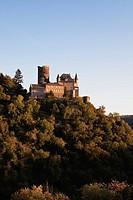 Germany, Rhineland Palatinate, View of Katz Castle during sunset