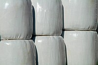 Straw bales in plastic