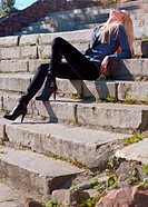 girl on the stone steps
