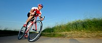 Cyclist, professional racing bike, Waiblingen, Baden-Wuerttemberg, Germany, Europe, PublicGround