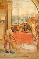 Fresco series depicting the life of St. Benedict, fresco by Sodoma, rural scene, cloister of Abbazia di Monte Oliveto Maggiore Abbey, Tuscany, Italy, ...