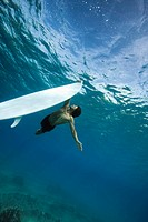 surfer holding on to surfboard underwater