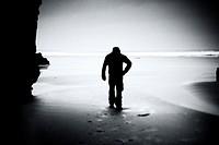 Man in Playa de las Catedrales, Lugo province, Galicia, Spain