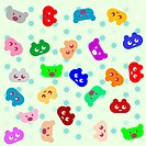 smile colored cartoon animals background