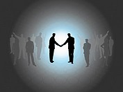 Business people shaking hands, digitally generated image