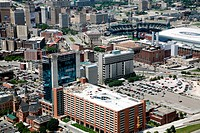 Aerial of the Greektown Casino with Comerica Park in the Background