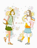 Girl students wearing young style outfit