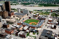 Aerial view of Fifth Third Field in downtown Toledo, Ohio, USA