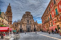 HDR of The Cathedral Church of Saint Mary in Murcia, plaza del Cardinal Belluga, City of Murcia, Southeastern Spain, Europe