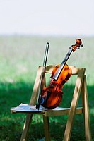 Violin And Wooden Chair