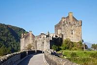 Fortified wall of a castle, Eilean Donan Castle, Loch Duich, Highlands Region, Scotland