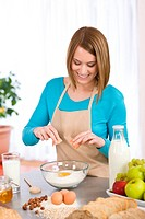 Baking _ Smiling woman with healthy ingredients