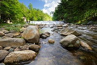 Parker´s Dam along the Pemigewasset River in Woodstock, New Hampshire USA during the summer months  This is the site of a old mill dating back to the ...