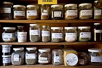 Jars containing herbs in ahelth food store