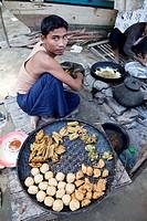 Myanmar, Burma  Bagan  Fried Snacks for Sale in Market