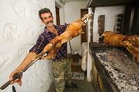 europe, greece, dodecanese, patmos island, kampos village, orthodox easter sunday, roasted goat