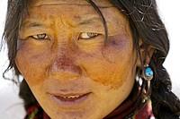A portrait of tibetan woman  Darchen  Ngari Prefecture  Tibet province  China  Asia