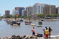 fishing boats in back bay  mumbai south  mumbay city  maharashtra  india  asia